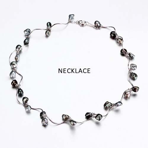 Sterling silver vintage black pearl link necklace