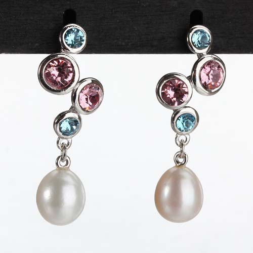 925 silver baroque pearl multi cz earrings