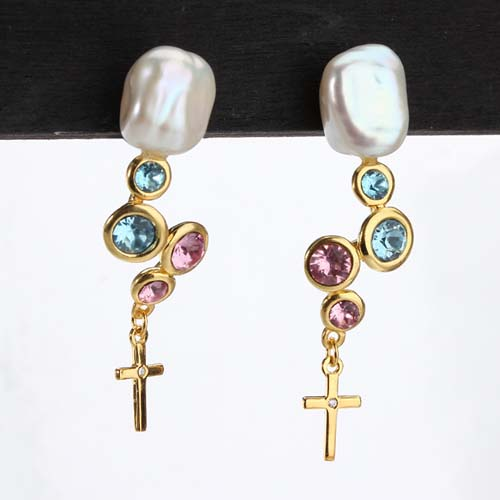 Colored cz baroque pearl silver dangle cross earrings
