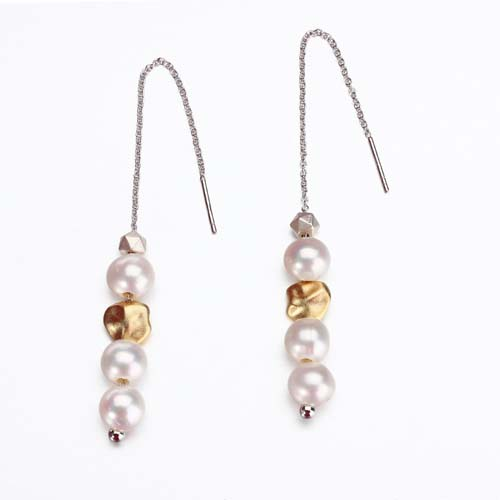 925 sterling silver beaded pearl wire earrings