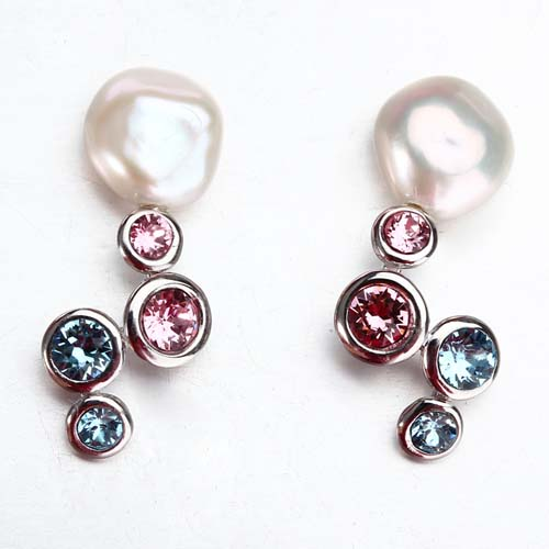 Sterling silver multi cz baroque pearl earrings