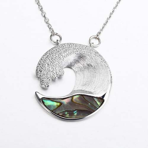 Sterling silver sea wave paua abalone jewelry charm