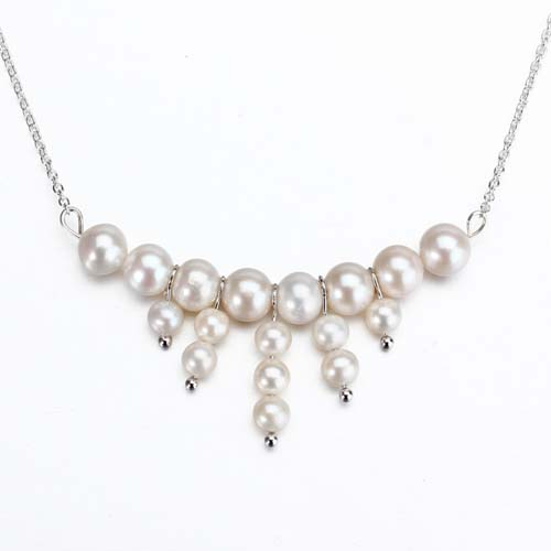 Sterling silver beaded freshwater pearl necklace
