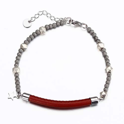 925 sterling silver leather bead bracelet