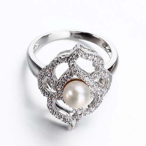 925 sterling silver cubic zirconia pearl flower ring