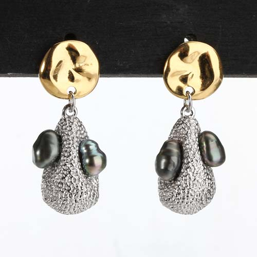 Sterling silver black pearl abstract earrings