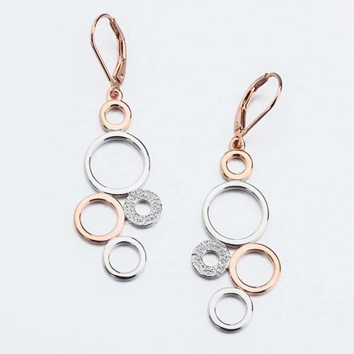 Two tone vermeil 925 silver geometry rings earrings