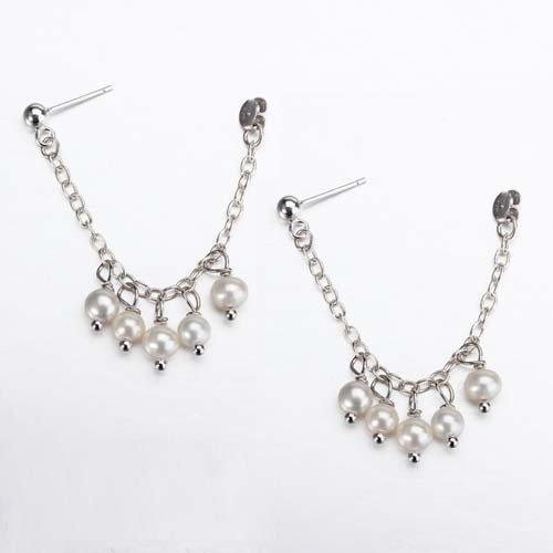 925 sterling silver pearls earrings with butterfly