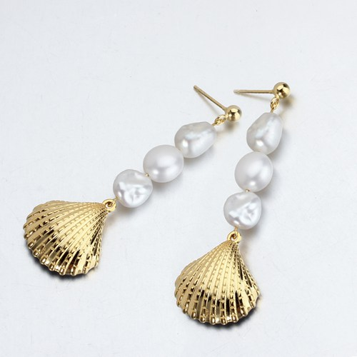 Sterling silver baroque pearl shell drop earrings