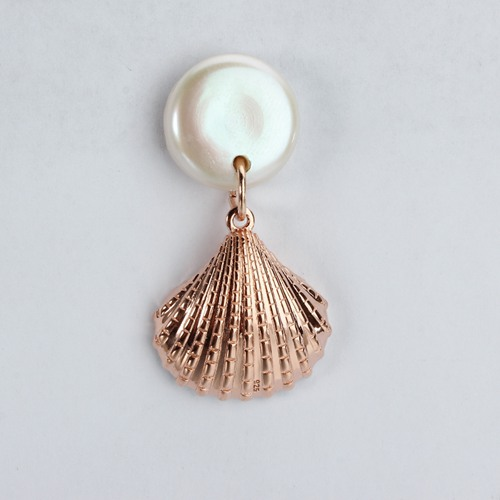 Sterling silver coin pearl conch shell earrings