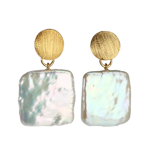 Flat square baroque pearl silver disc earrings