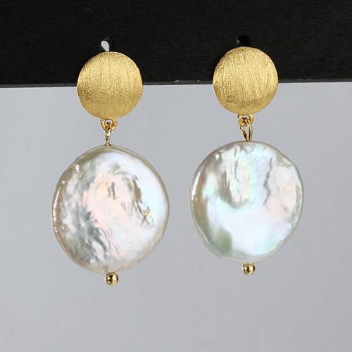 Sterling silver coin baroque pearl disc earrings
