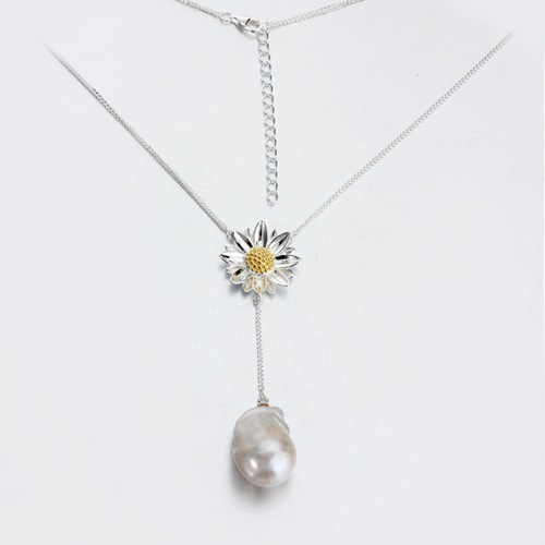 925 silver sunflower baroque pearl lariat jewelry necklace