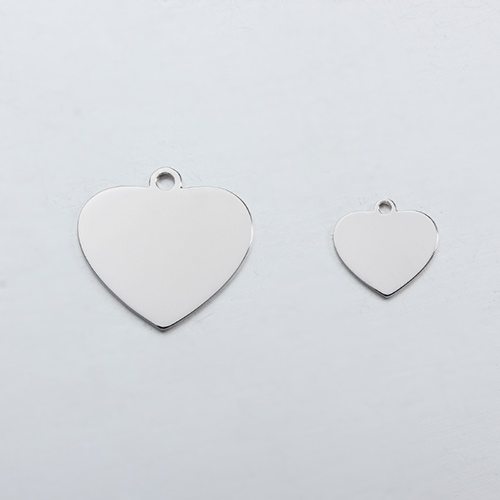 Custom logo 925 sterling silver heart blank tag ,bigger