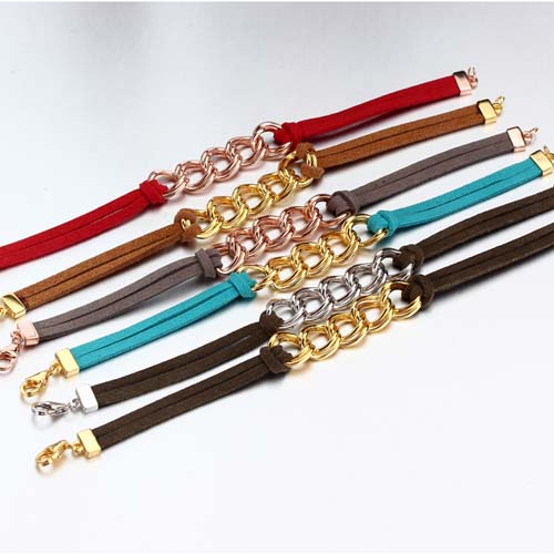 Bohemian leather silver link bracelet wholesale