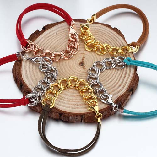 Boho multi color leather cuban link bracelet