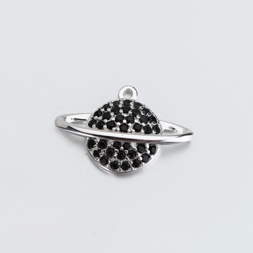 925 sterling silver cz pave planet charm