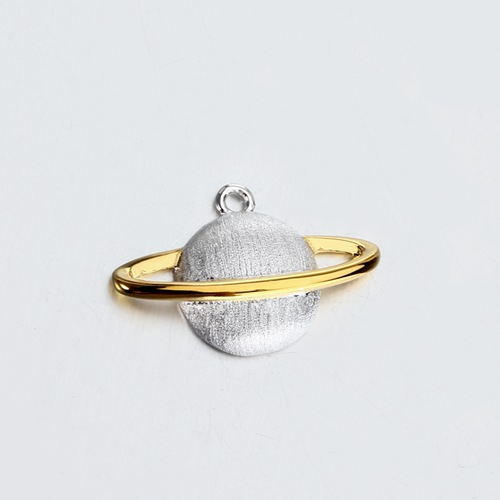 Two tone vermeil silver Saturn planet charm