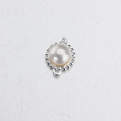 925 silver freshwater pearl bezel connector