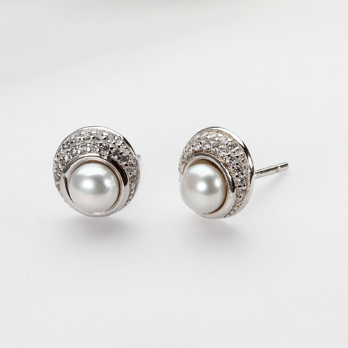 925 sterling silver cz pave pearl stud earrings
