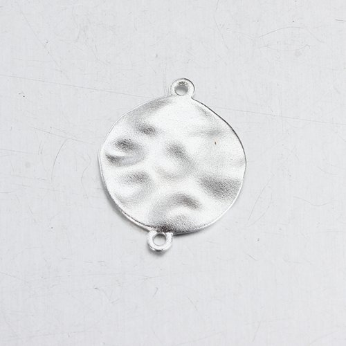 Sterling silver hammered disc charm connector 18mm