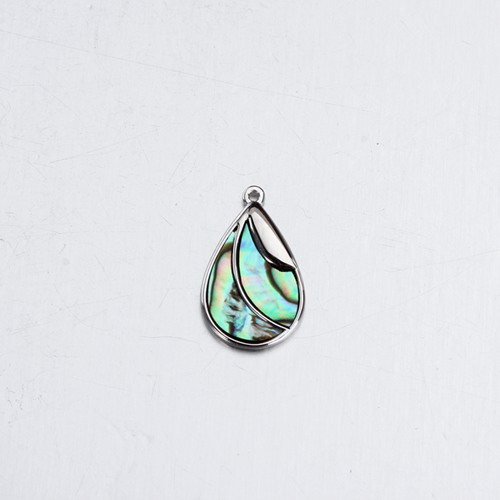 Rhodium plated 925 silver abalone shell teardrop charm