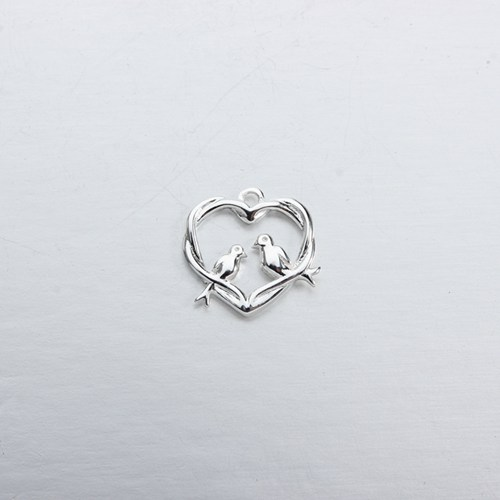 925 sterling silver heart bird charm