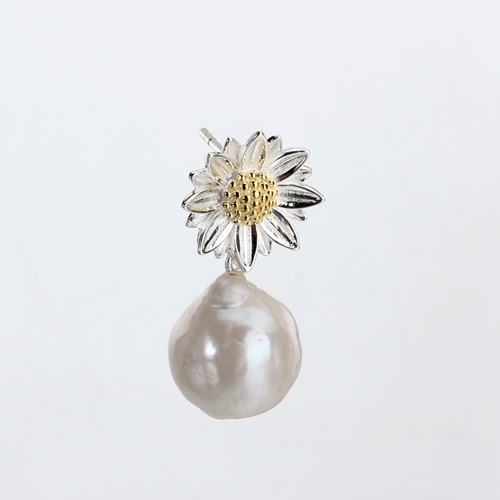 925 sterling silver baroque pearl sunflower earrings