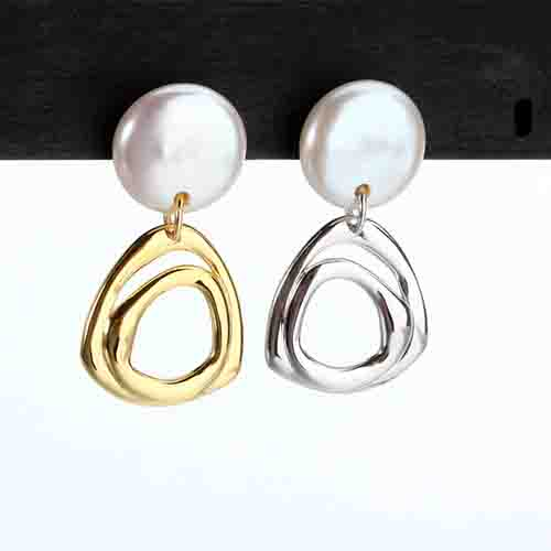 Renfook 925 sterling silver irregular simple and  elegant shell earrings