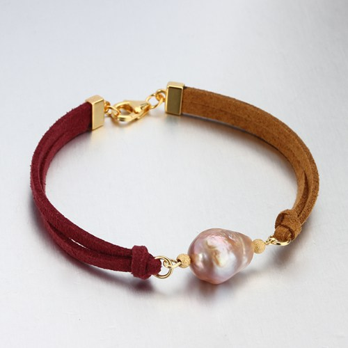 Two Tone Color Leather cord baroque pearl bracelet
