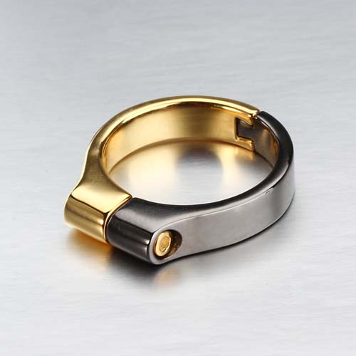 Trendy 925 sterling silver two tone plated ring
