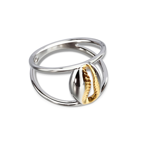 Trendy 925 sterling silver two tone plated shell ring