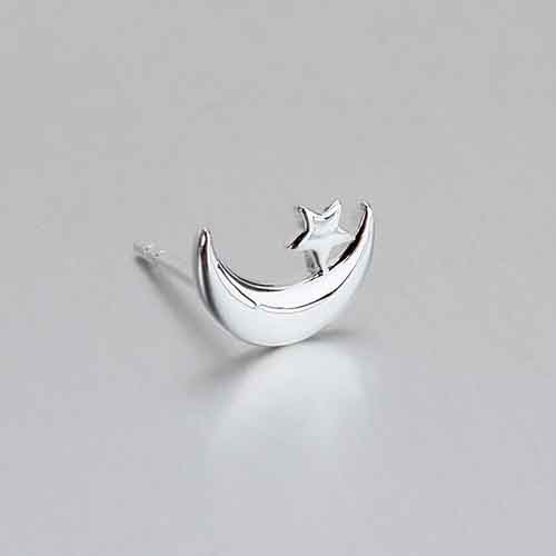 Mini dainty silver moon and star stud earrings