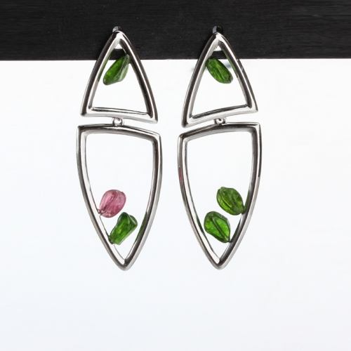 Renfook 925 sterling silver triangle fashionable and elegant gemstone earring