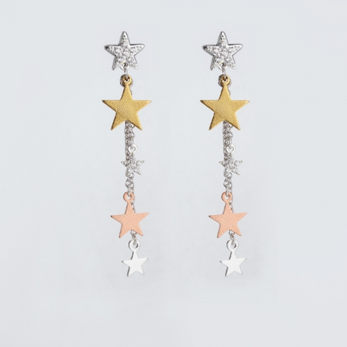 Renfook 925 sterling  silver five different size stars stud earring
