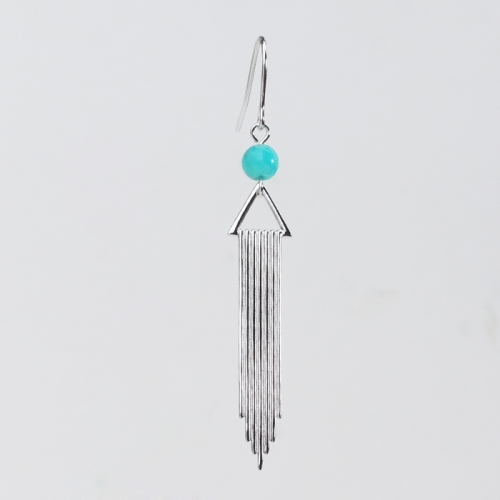 Renfook 925 sterling silver tassel shape gemstone 2020 earrings women