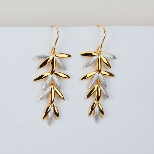 Renfook 925 sterling silver leaves polished&brushed effect earrings 2020