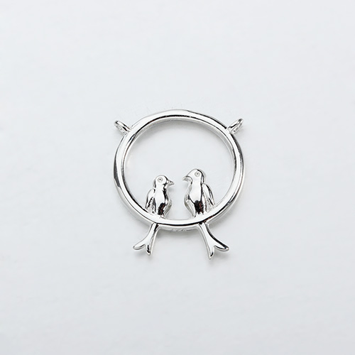 Renfook Sterling silver two birds  connector for spring