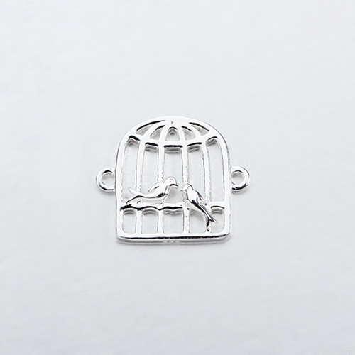 Renfook Sterling silver two birds in cage connector for spring