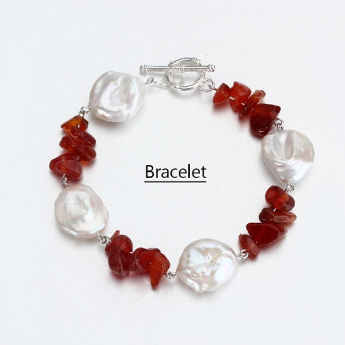 Renfook 925 sterling silver pearl and red agate bracelet for women