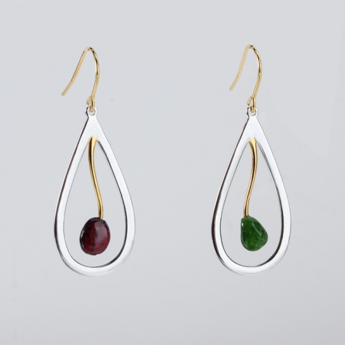 Renfook 925 sterling silver gemstone jewellery earrings wholesale