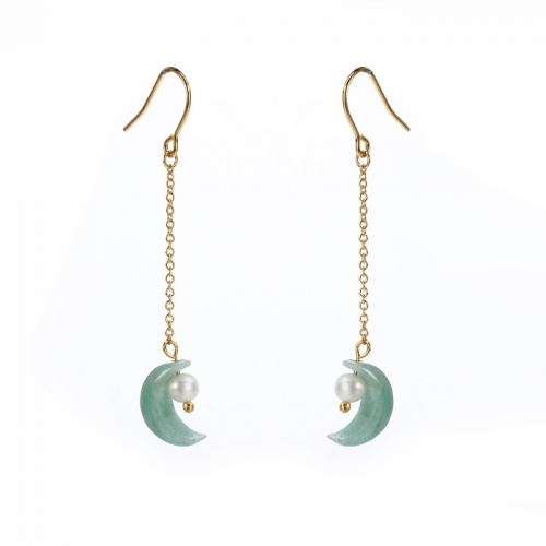 Renfook 925 sterling silver moon shape earrings jewelry 2020
