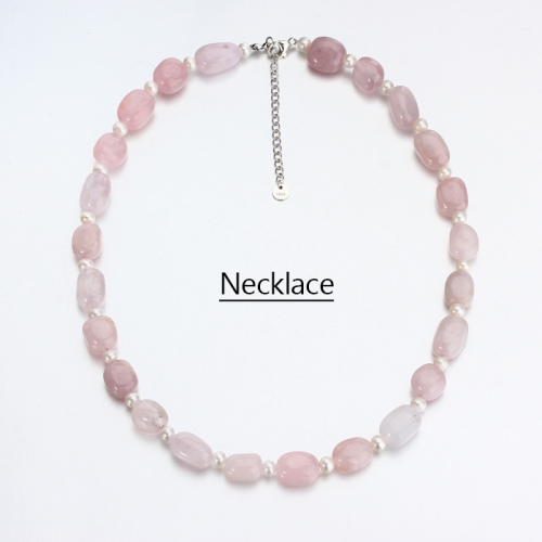 Renfook 925 sterling silver pearl and rose quartz necklace