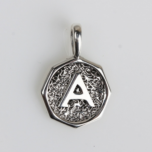 Renfook 925 sterling silver 8 side letter A coin pendant
