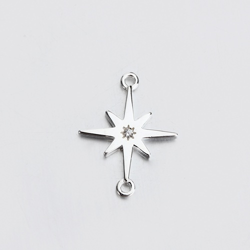 Renfook Sterling silver star CZ connector