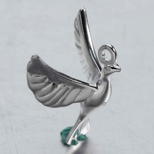 Renfook 925 Sterling silver 3D flying birds charm