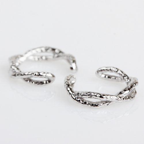 Renfook 925 sterling silver hammered earcuff