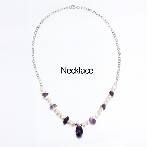 Renfook 925 sterling silver pearl and amethyst cable chain necklace