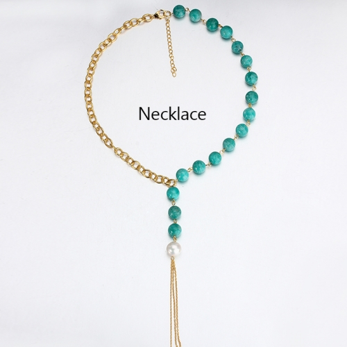 Renfook 925 sterling silver pearl and green turquoise necklace with tassel