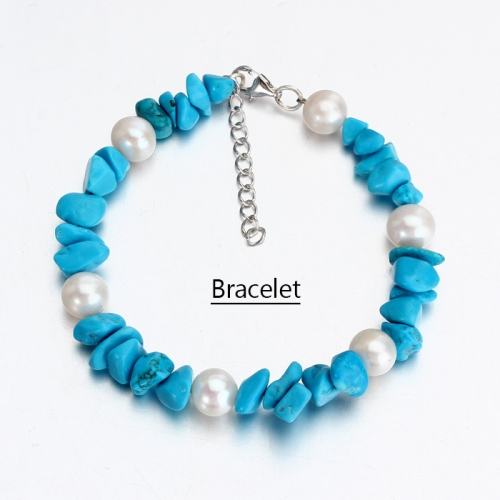 Renfook 925 sterling silver pearl and blue turquoise bracelet for women